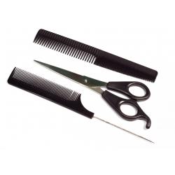 Sada hrebeňov + nožnice